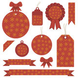 Red christmas labels Royalty Free Stock Photos