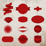 Red Christmas Labels Set on grunge Background Royalty Free Stock Photo