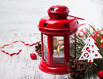 Red christmas lantern with candle Stock Image