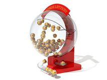 Red christmas lottery machine. Stock Photo