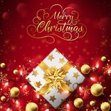 Red Christmas luxury background. Close up of Christmas golden box dress up background with string lights through the box and balls,lettering text on top flowing vector illustration