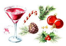 Red christmas martini cocktail elements set. Watercolor hand drawn illustration, isolated on white background. Red christmas martini cocktail elements set vector illustration
