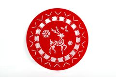 Red Christmas napkin. Isolated red Christmas napkin on white background Royalty Free Stock Images