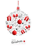 Red Christmas and New Year bauble decoration Stock Photos