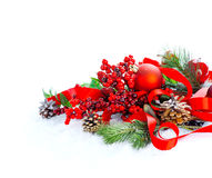 Red Christmas and New Year decoration isolated on white background Stock Photo