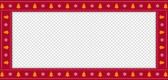 Red Christmas or new year rectangle border frame with bells and snow flakes ornament. Cute Christmas or new year rectangle banner, border, frame with bells and vector illustration