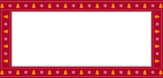 Red Christmas or new year rectangle border frame with bells and snowflakes pattern. Cute Christmas or new year rectangle banner, border, frame with bells and stock illustration