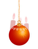 Red Christmas Ornament 1. Red Christmas ornament with red candles in the background Royalty Free Stock Photos