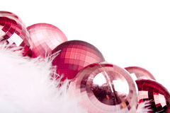Red Christmas Ornament. And pink cotton stock image