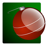 Red Christmas Ornament. Vector illustration of a shiny red Christmas tree ball on an offset gradient green background vector illustration