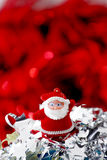 Red Christmas ornament. Christmas decoration whit Santa for background Stock Photography