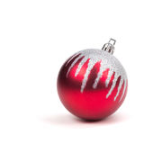 Red Christmas Ornament Ball on White. Stock Photos