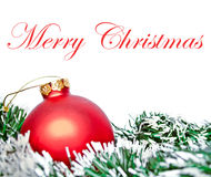 Red christmas ornament ball with wreath Royalty Free Stock Photos
