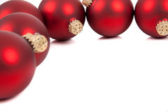 Red christmas ornament/baubles with copy space Stock Images