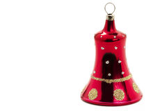 Red christmas ornament in bell shape Royalty Free Stock Images