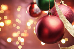 Red Christmas ornament with blur lighting Royalty Free Stock Photo