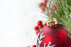 Red Christmas ornament border Royalty Free Stock Images