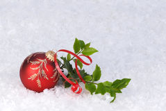 Red christmas ornament card background Royalty Free Stock Photography