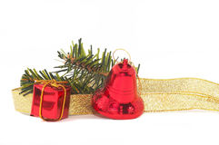Red Christmas Ornament closeup, horizontal orientation. Royalty Free Stock Photo