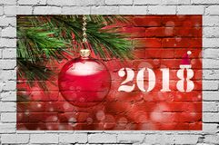 2018 Christmas Ornament Graffiti Background stock image