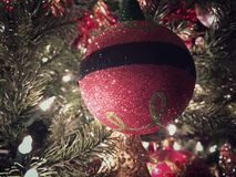 Red Christmas Ornament. It's the most wonderful time of the year with Christmas tree decorations and festivities Royalty Free Stock Photography