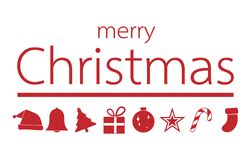 Red christmas ornament with merry christmas text, vector illustr. Ation Stock Photo