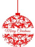 Red Christmas ornament that says Merry Christmas Royalty Free Stock Photo