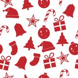 Red christmas ornament seamless pattern, vector illustration. Red christmas ornament seamless pattern background, vector illustration Stock Photo