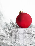 Red Christmas Ornament Silver Box Stock Image