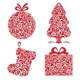 Red Christmas ornamental symbols stock illustration