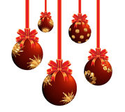 Red Christmas ornaments. The Christmas ornaments lights balls on the white background Royalty Free Stock Photos