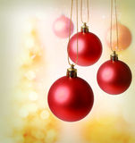 Red Christmas Ornaments. With golden background Royalty Free Stock Photos
