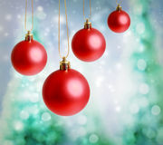 Red christmas ornaments Stock Photo