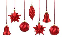 Red Christmas ornaments. Isolated on white background royalty free stock photos
