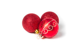 Red Christmas ornaments ball on white. Royalty Free Stock Images