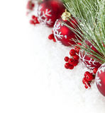 Red Christmas ornaments border Royalty Free Stock Images