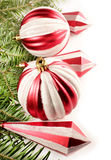 Red Christmas ornaments border  Royalty Free Stock Photography