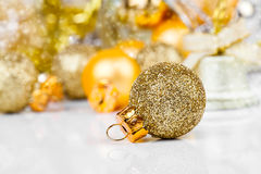 Red christmas ornaments. With golden christmas bauble Royalty Free Stock Images