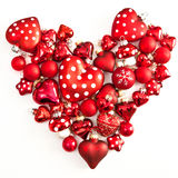Red christmas ornaments in heart-shape Royalty Free Stock Image