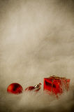 Red Christmas Ornaments on Soft Fur - Vertical Vintage Royalty Free Stock Photo