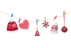 Red Christmas patchwork ornament Royalty Free Stock Photos