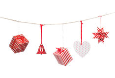 Red Christmas patchwork ornament Stock Photography
