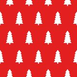 Red Christmas pattern with Christmas trees vector royalty free illustration