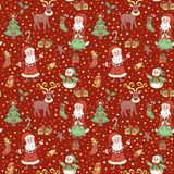 Red christmas pattern with confetti Stock Photography
