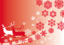 Red Christmas pattern deers and snowflakes Stock Photo