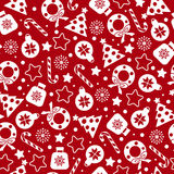 Red christmas pattern. Vector seamless texture Stock Photo
