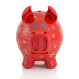 Red Christmas piggy bank Royalty Free Stock Photo