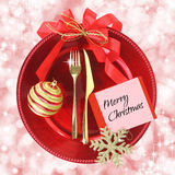 Red Christmas plate royalty free stock photo