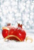Red Christmas pomegranates Royalty Free Stock Photography