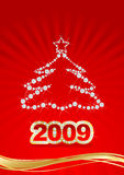 Red Christmas postcard. Vector red Christmas postcard 2009 for your design royalty free illustration